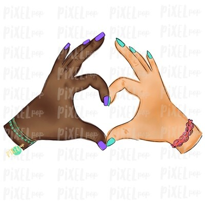 Hand Hearts PNG | African American and Caucasian | Equality Digital PNG | Sublimation PNG | Digital Download | Printable Art | Clip Art