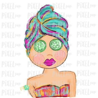 Spa Girl PNG   Caucasian   Cucumber Eyes   Spa   Pamper PNG   Pamper Art   Sublimation PNG   Digital Download   Printable Art   Clip Art