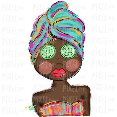 Spa Girl PNG   African American   Cucumber Eyes   Spa   Pamper PNG   Pamper Art   Sublimation PNG   Digital Download   Printable Art   Clip Art