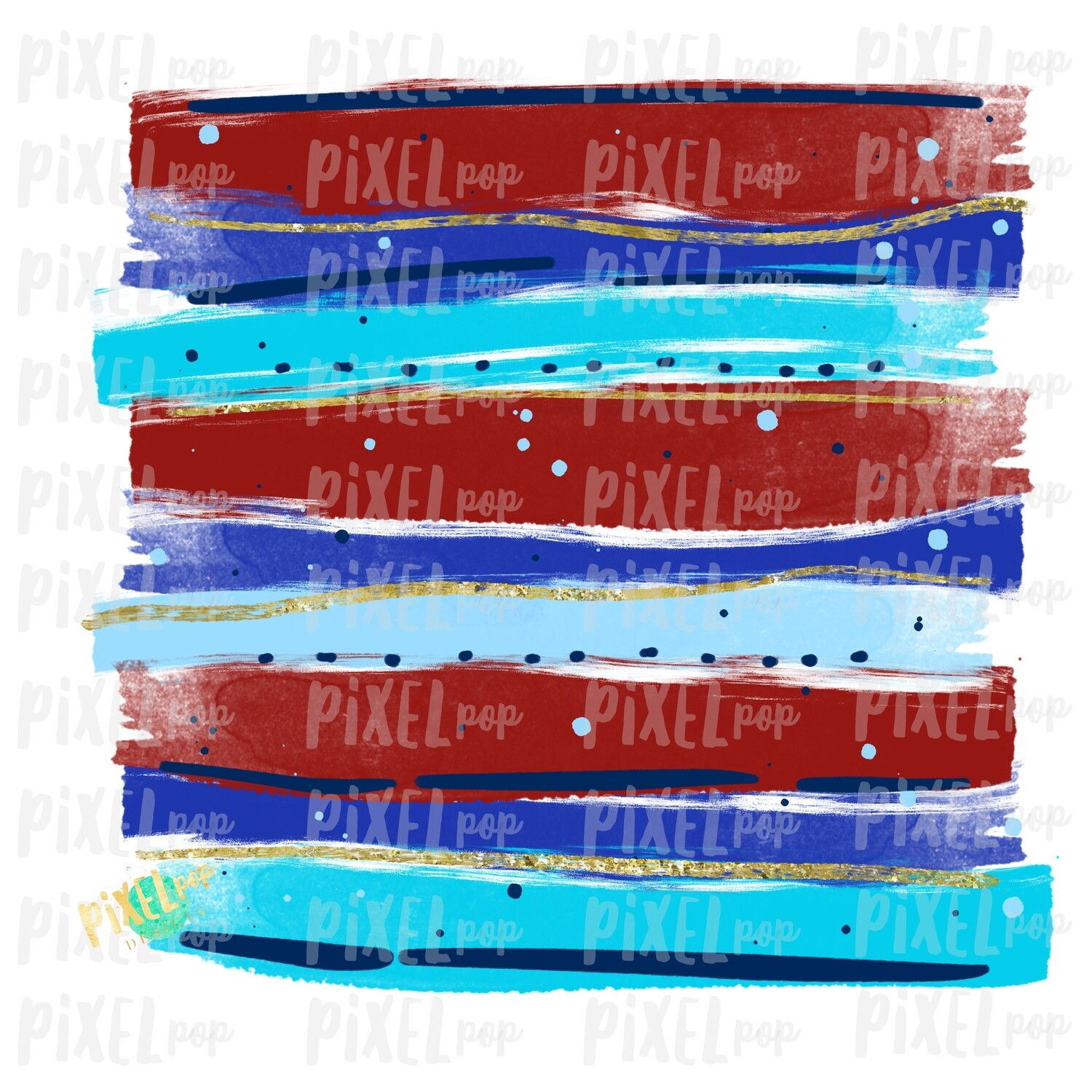Red, White, Blue, Gold Horizontal Brush Stroke Background PNG   4th of July   Watercolor Background Design   Digital Art   Hand Painted Art