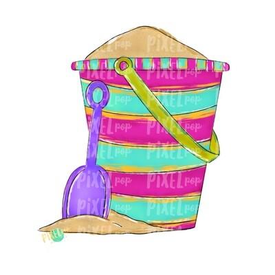 Sand Pail Pink Beach Art PNG Design | Beach Design | Hand Painted Digital Art| Sublimation PNG | Digital Download | Printable Artwork | Art