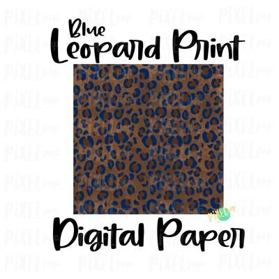 Leopard Print with Blue Digital Paper Sublimation PNG | Hand Painted Art | Sublimation PNG | Digital Download | Digital Scrapbooking Paper