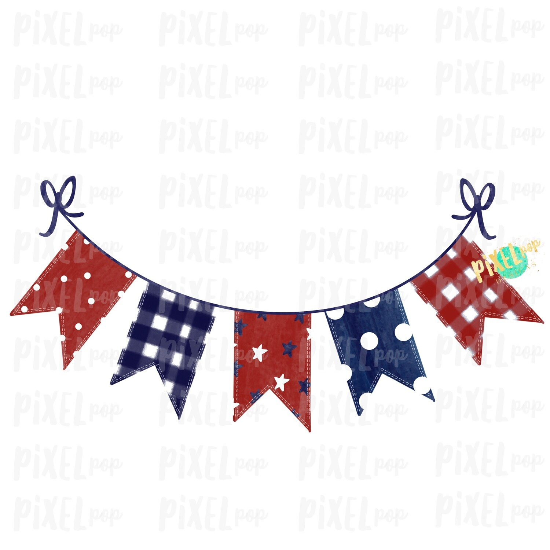 Patriotic Pennant Red White Blue Sublimation Digital Design PNG | Hand Drawn | Sublimation PNG | Digital Download | Printable Art | Clip Art