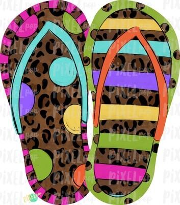 Leopard Stripe Dot Flip Flops PNG | Hand Painted Sublimation Design | Summer Design | Summer Beach Digital Art | Printable Art | Clip Art