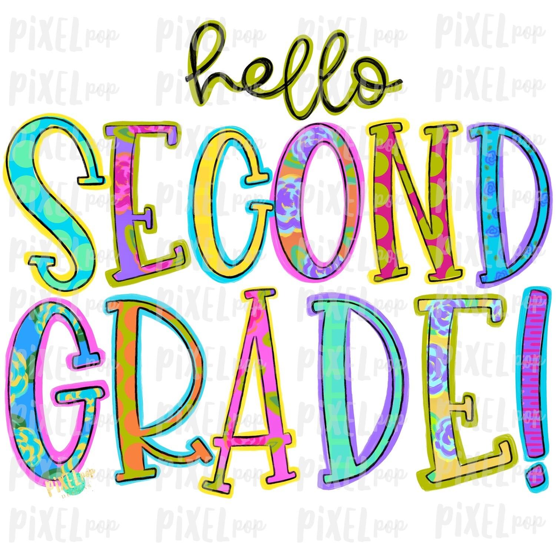 Hello Second Grade Bright PNG Design   School Design   Sublimation   Digital Art   Hand Painted   Digital Download   Printable Artwork   Art