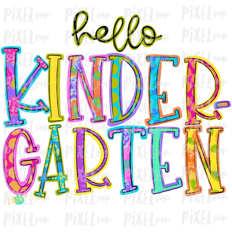Hello Kindergarten Bright PNG Design | School Design | Sublimation | Digital Art | Hand Painted | Digital Download | Printable Artwork | Art