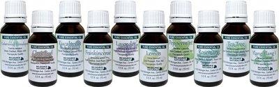 First Aid Set of 10 Pure Essential Oils - 0.5 fl oz (15 ml) each