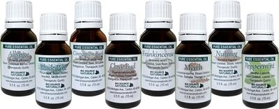 Holiday Scent Set of 8 Pure Essential Oils, 0.5 oz (15 ml) Each