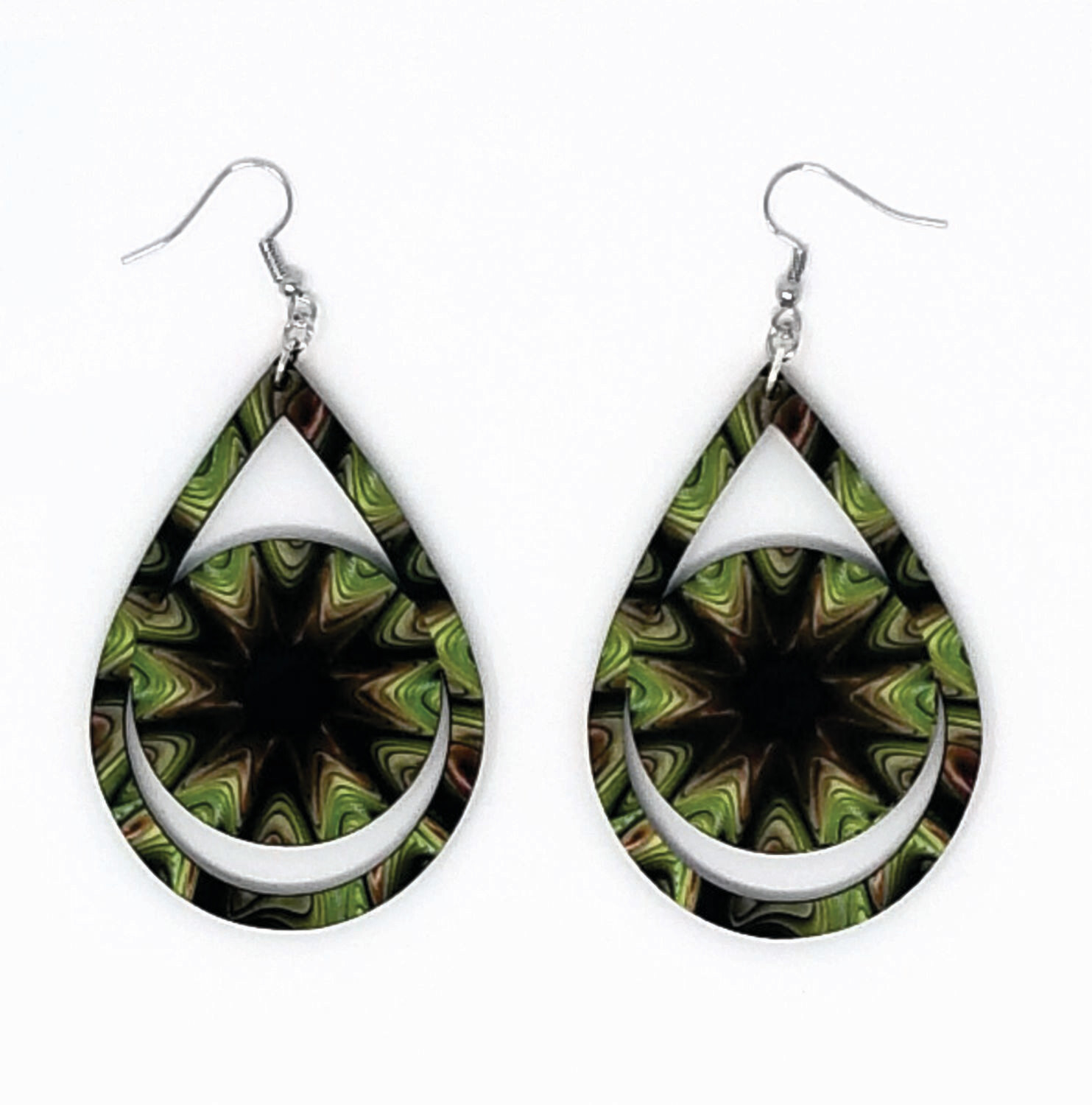 Large Teardrop Earring with Circle Center
