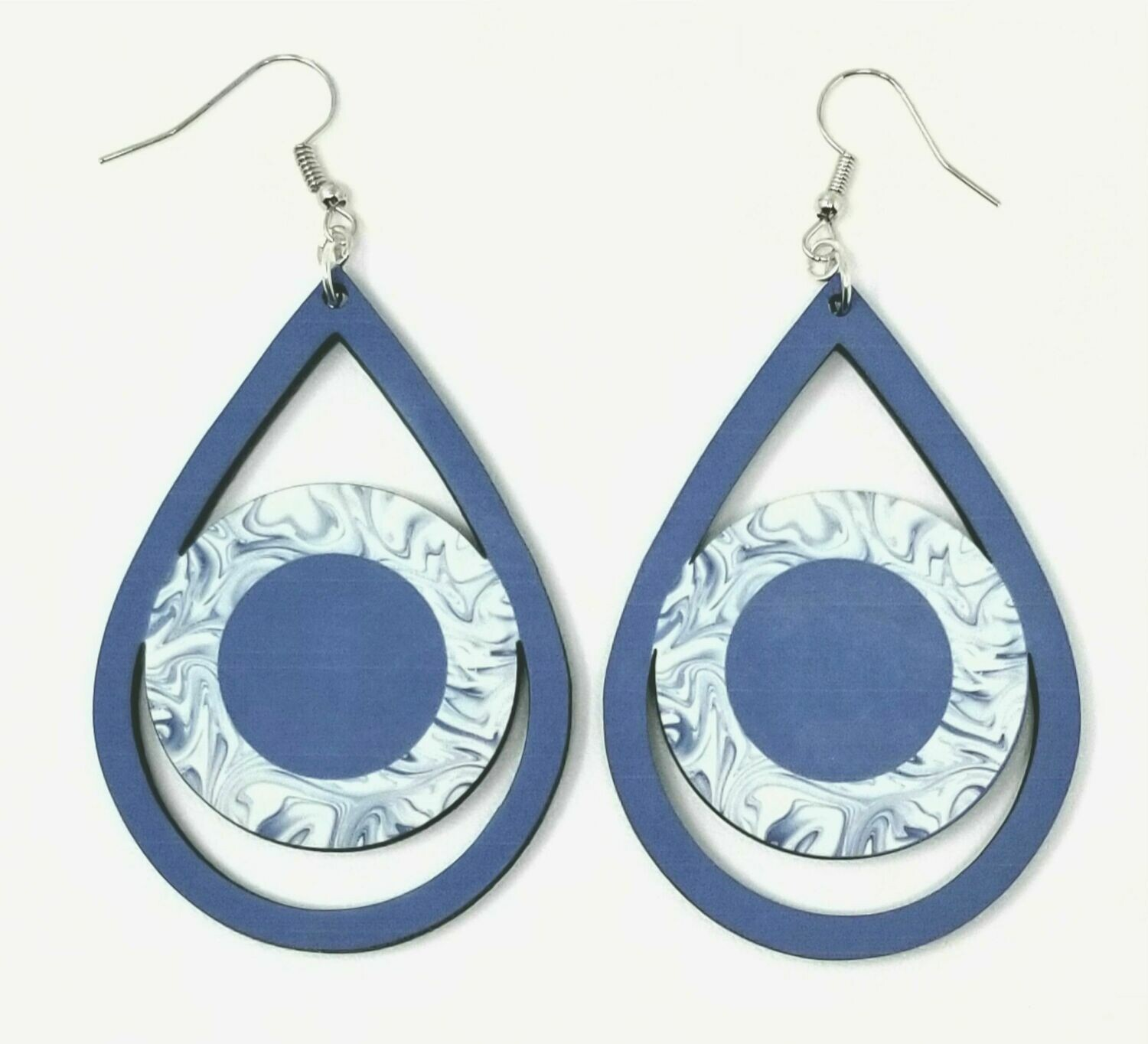 Blue Teardrop Earrings with Circle Center