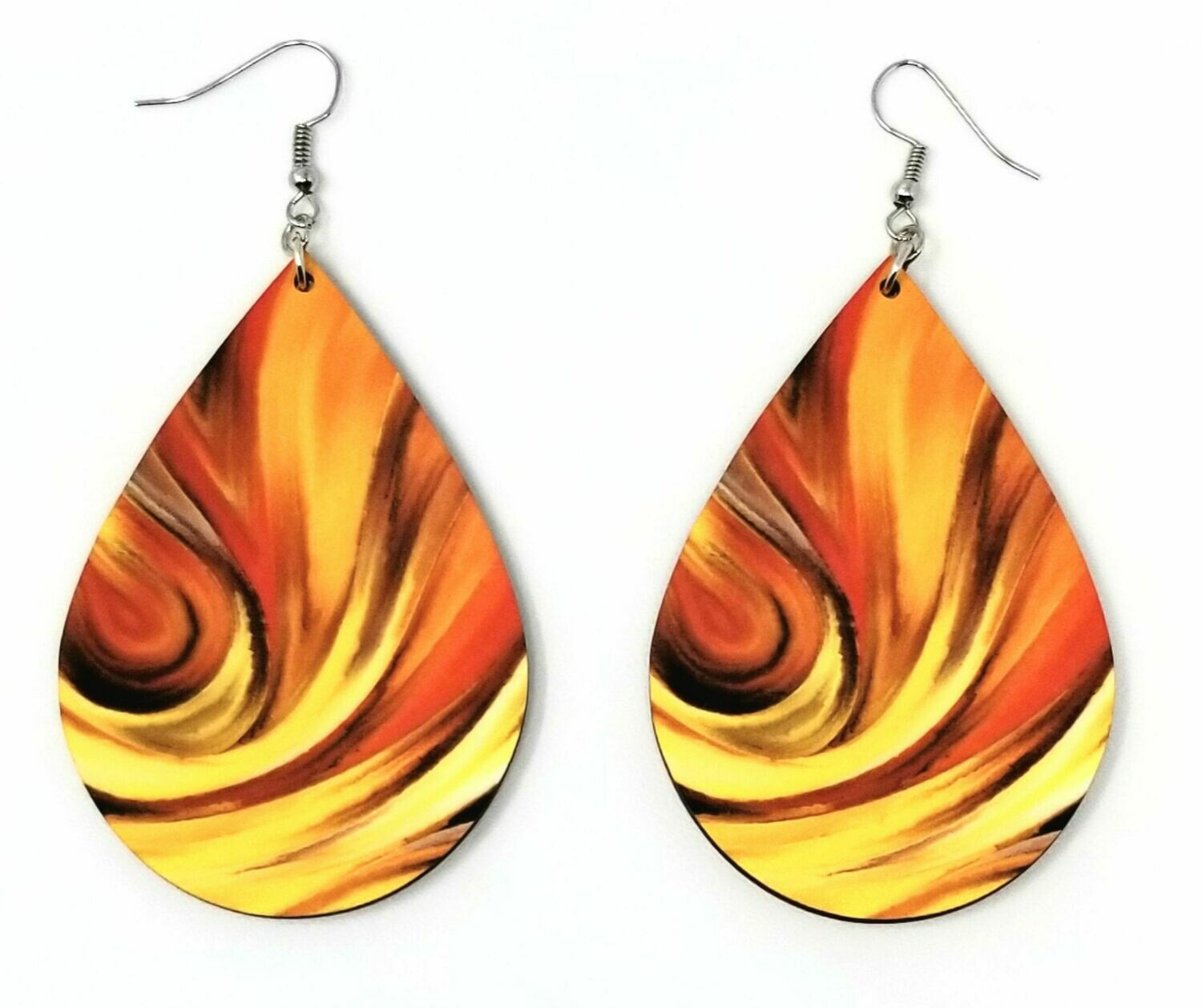 Tear Drop Earrings with Sunset Image