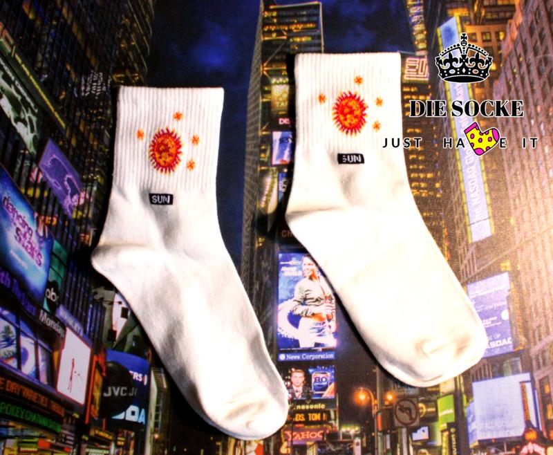Lustige Socken mit Sonne Print