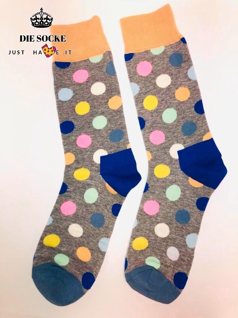 Business Herren Socken grey in Polka Dot