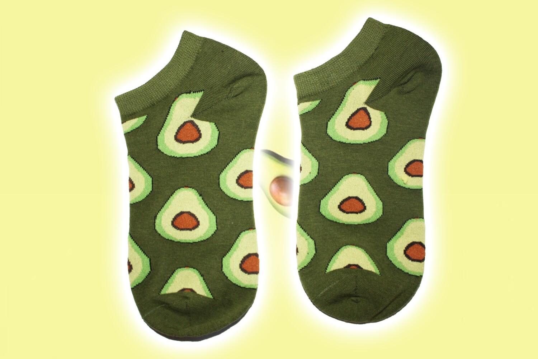 Grüne Kawaii Socken mit kleine Avocados