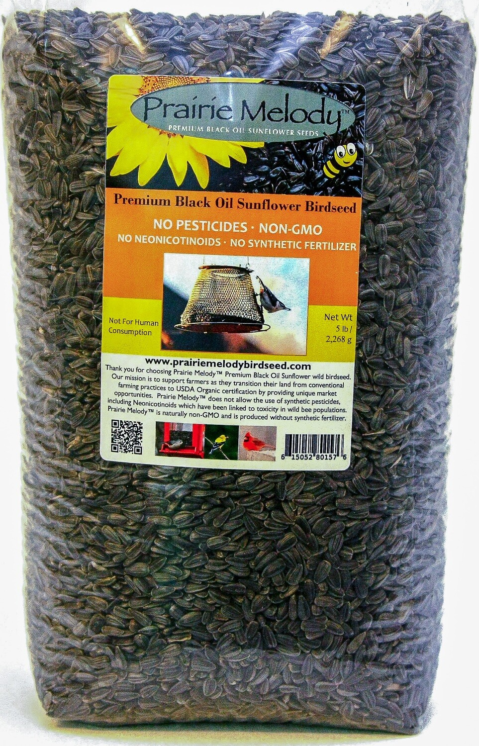 Pesticide Free - Black Oil Sunflower Birdseed - 5 lb Clear Bag