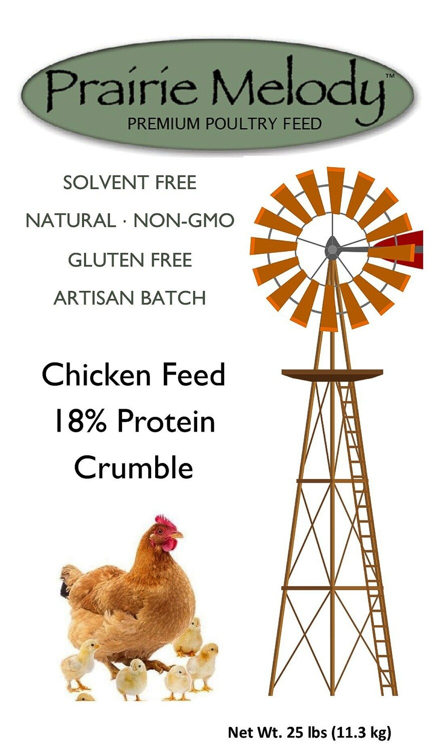 Prairie Melody Poultry Feed - Gluten Free, NonGMO, Solvent Free - 25 lb