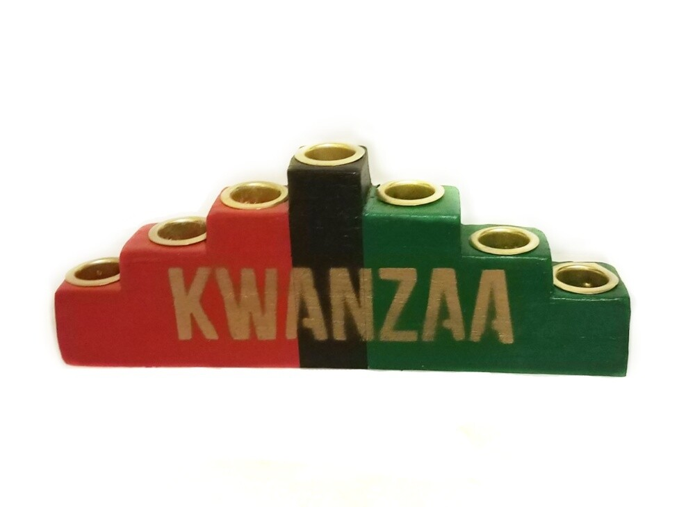"""Kwanzaa"" Colors of Africa Wooden Kinara with Gold Finish"