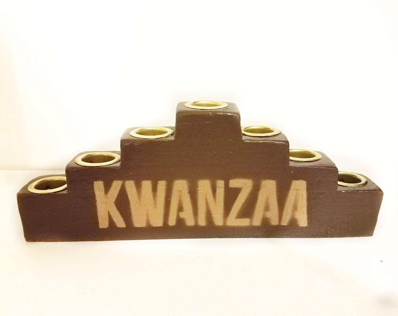 """Kwanzaa"" Traditional Brown Wooden Kinara with Gold Finish"