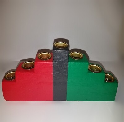 Colors of Africa Wooden Kinara with Gold Finish
