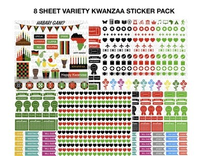 8-Sheet Variety Kwanzaa Peel-It & Planner Sticker Pack