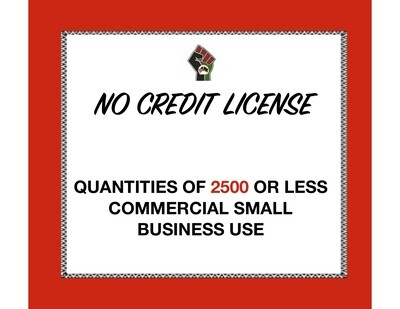 No Credit License for Quantities of 2500 or Less (Commercial Use) for 1 Clipart or Digital Paper Set