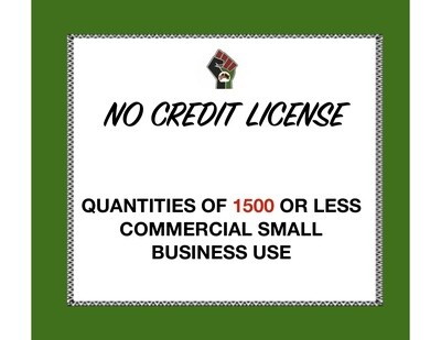No Credit License for Quantities of 1500 or Less (Commercial Use) for 1 Clipart or Digital Paper Set