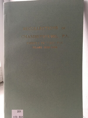 Recollections of Chambersburg (Soft Bound)