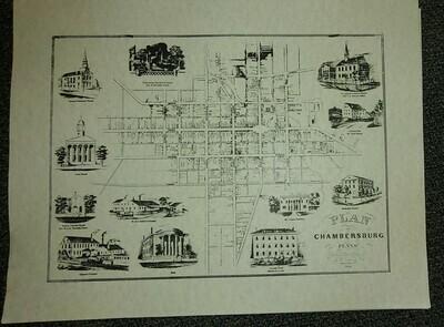 1850 Plan of Chambersburg Map Poster