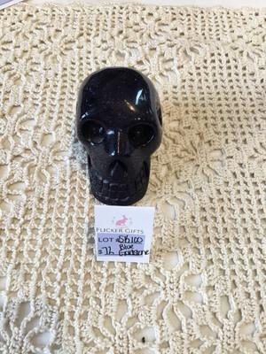 Sk100 Blue Goldstone Carved Skull
