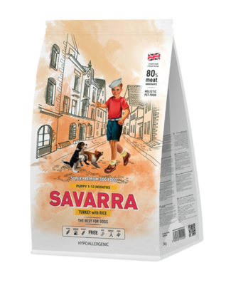 Савара SAVARRA д/щенков индейка/рис 1кг