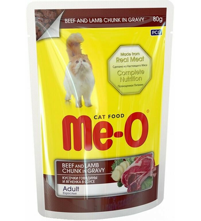 Мео Me-O влаж.д/кошек 80г говядина/ягненок в соусе
