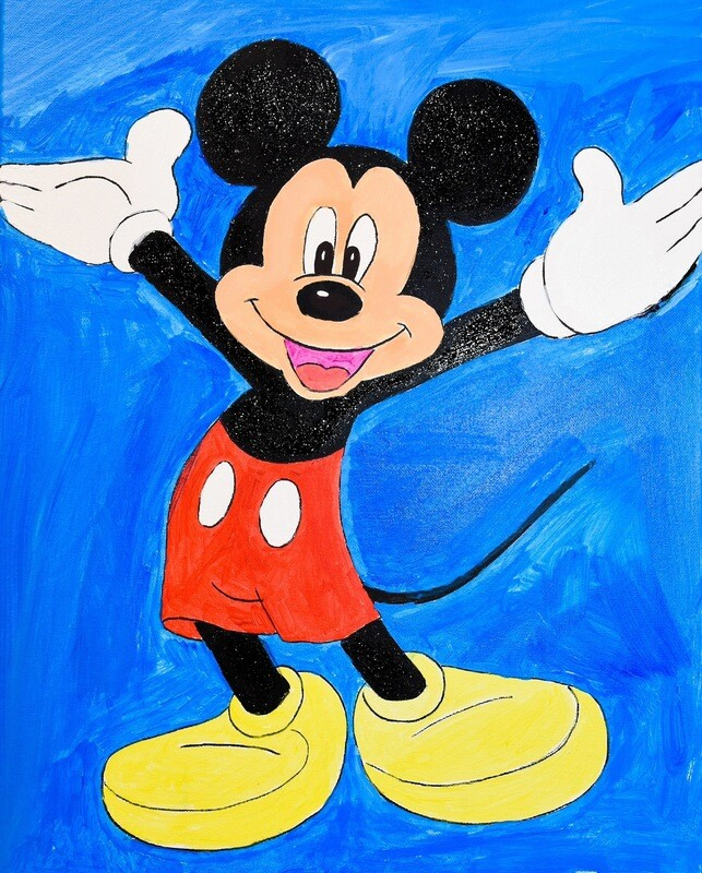Mickey Mouse pre-traced canvas