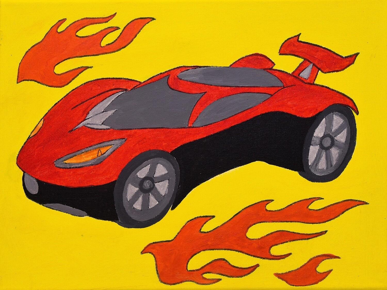 Sport Car pre-traced canvas