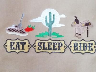 Cowboy Eat, Sleep, Ride Dish Towel