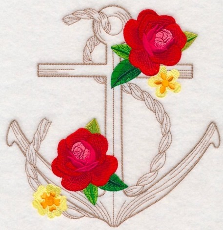 Hand Towel With Flowered Anchor