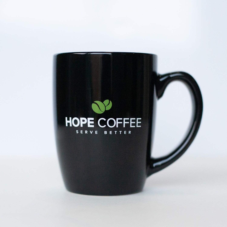HOPE Coffee 11 oz Black Ceramic Mug