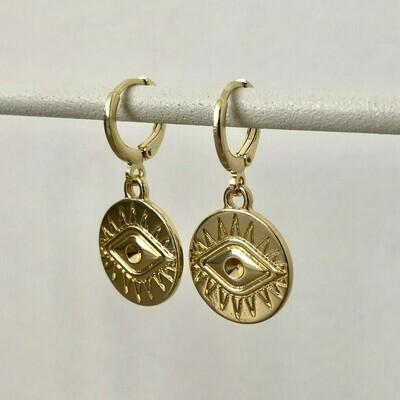 Eye coin oorbellen goud