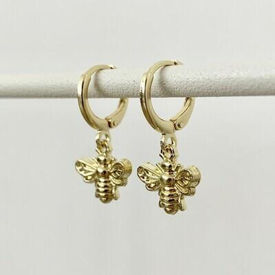 Bijen oorbellen goud