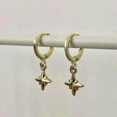 3D sterren oorbellen goud