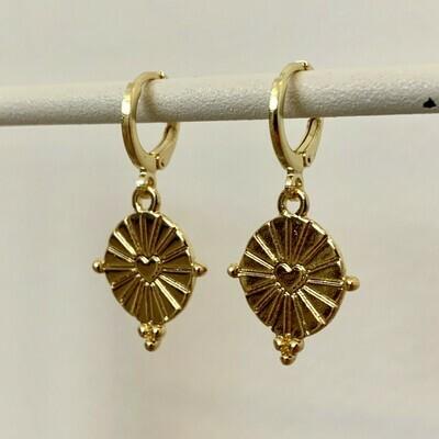 Hartjes munt oorbellen goud