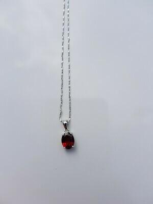 Rood Garnet halsketting 925 sterling zilver