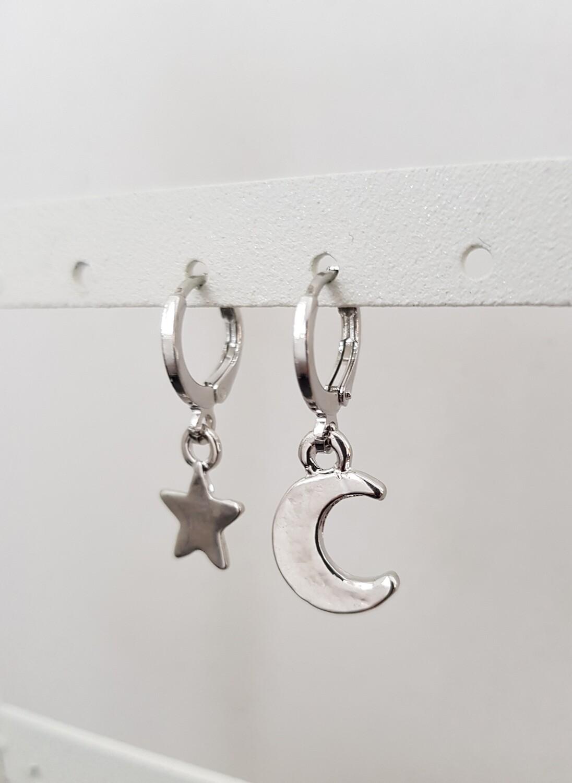 Ster en halve maan oorbellen zilver