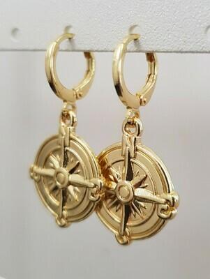 Kompas star oorbellen goud