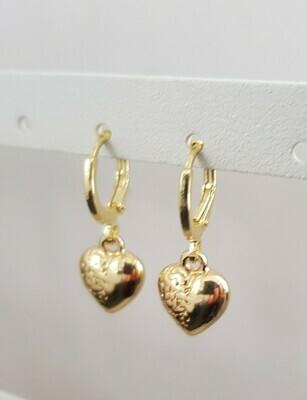 Mini 3D heart oorbellen goud