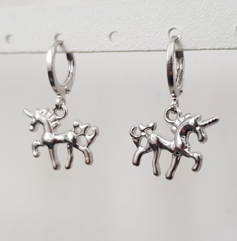 Unicorn oorbellen zilver
