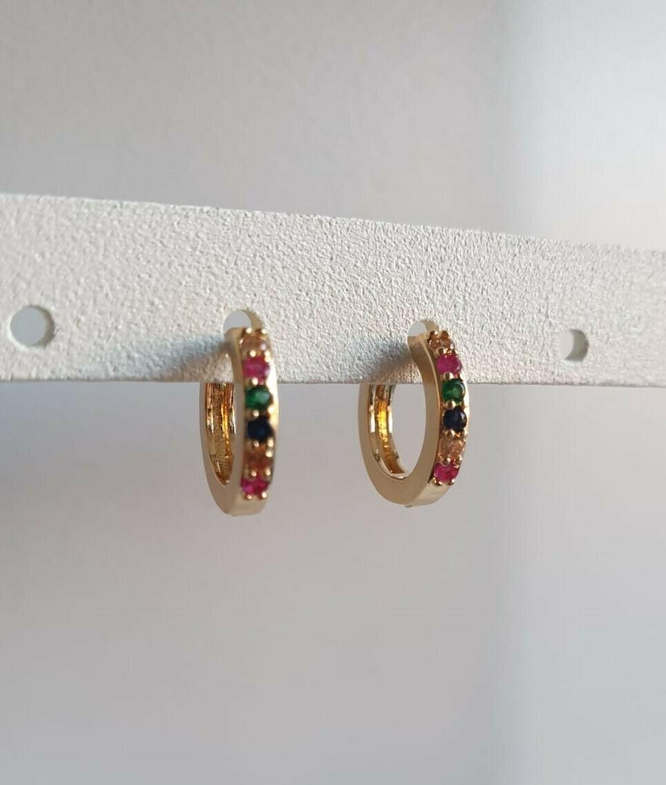 Tiny oorringetjes goud met steentjes 6 kleuren