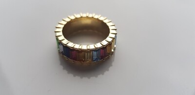 Colorful ring 925 sterling zilver goud