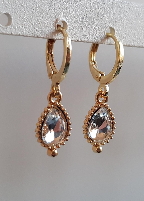Druppel oorbellen diamant steen goud
