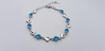 Hartjes armbandje met steentjes blauw/925 sterling zilver