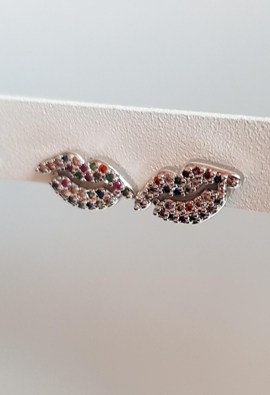 Mini gekleurde lippen knopjes zilver